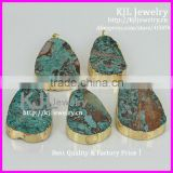 KJL-A0138 Natural Ocean Stone Quartz Druzy Pendant,Green Color Big Drusy Agate Gem Connector Charm,Necklace Pendant