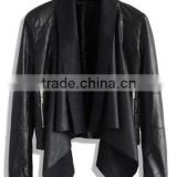ladies fashion soft shell faux leather jacket with waterfall collar