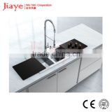 Double bowl hand-made sink with Double tempered glass Drainboard