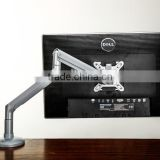 "factory supply modern smaill surface spring monitor arm/stand desktop mount for LCD 18"" to 28"" Lcd monitor dual arm in brackets"