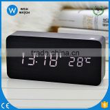 NC001 best selling antique big size LED Sound sensor decorative wooden desk table digital alarm clock/Wooden alarm clock
