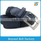 Unisex Braided Elastic Stretch Belt with Leather Trim