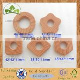 Hot-sale shaped natural wood teething ring wooden teether ring for baby`s toy