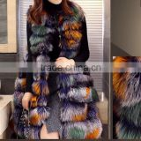 2016/2017 Wholesale Fashion Winter Multi color Real Fox Fur Gilet Long Style Mixed Color Fox Fur Vest for Women Parka Fur Coat