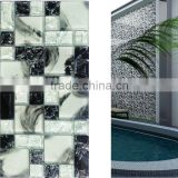 black hand-painted art ice crackle glass mosaic