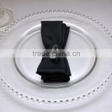 Wholesale Cheap China Wedding and Events White Beaded Clear Glass Decoration Charger Plate