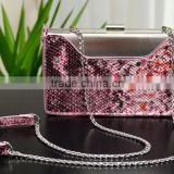 #680 beautiful snake leather handbag clutch evening bag with chain strap clutch purse crossbody bag