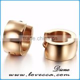 High polished plated ladies daily wear stainless steel earrings rose gold
