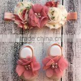 New Design Toddler Clothing Set Chiffon Headband And Barefoot Sandal For Infant Girl Cute Kids Wear NP-G-CS905-30