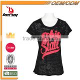 Custom Printing Short Sleeve Chevron Print Woman Shirt and Tops for Wholesale