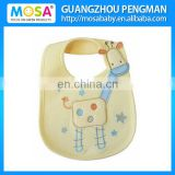 Embroidered Waterproof Yellow Giraffe Baby Bibs and Burp Cloths 100% Cotton