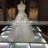 1A092 New Arrival 2016 Hot Sale Pure Diamond Neck Ruffled Layered Organza Skirt Prom Ball Gown Wedding Dress