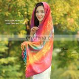 New Minority style cotton flax tassel colored peacock long stole shawl scarf