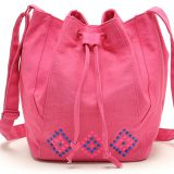 pink canvas hobo bag with long shoulder from China