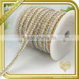 Colorful hotfix rhinestone chain trimming wedding belts trim crystal beaded chains FHRS-030