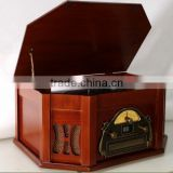 Record Player Retro Vinyl Turntable Real Wood Stereo System, AM/FM Radio, CD, USB for MP3, Vinyl-to-MP3 Recording, Headphone Jac
