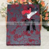 Latest European Style Velvet Red Rose Black Ribbon Wedding Card