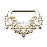Cubic Zircon victorian 316L surgical steel nipple piercing rings Body Jewelry