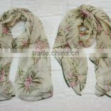 stock scarf tropical flower and trees printed with trimming scarf cotton lace trimming scarf new scarf