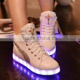 New Fashion colorful Led light Shoes with diamond Casual/ankle boots Women & Men Shoes with Led Luminous USB Charging