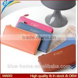 Single zipper around faux leather checkbook wallet Unisex long card holder High quality for waiter