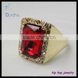 hip hop jewelry latest gold micro pave ruby ring designs for men                                                                         Quality Choice