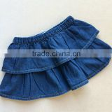 Cheap 100% cotton pleated soft baby girls mini skirt baby denim skirt