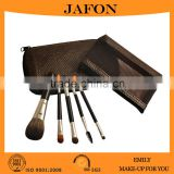 Double heads natural hair high quality 5 pcs brush set with two cosmetic zipper bag