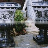 Flower pot stone planter sculpture black marble hand carved sculpture from Vietnam