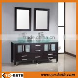 double sink solid wood mirror bathroom vanity cabinet with glass countertop and wash basin