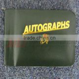 Forest Green Zipper Closed Leatherette Autograph Book with Golden Stamping