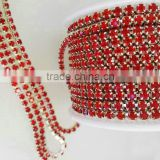 2016 Crystal Pink Diamond Rhinestone Roll D Cup Chain ,Strass Rhinestone Claw Cup Chain Trimmings For Dress