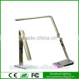 Quality assurance ultra-thin base all metal struchure LED table lamp with VA LCD calendar display