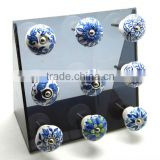Ceramic Drawer Pull Knobs with Metal Fittings - Blue Pottery - 38 mm Dia.