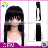 wholesale In stock cosplay for K-ON! Akiyama Mio with long black hair natural scalp wig