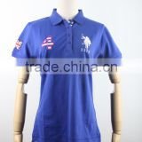 Plain blue embroidery applique men's & women's polo t-shirt wholesale