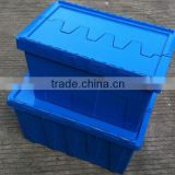 50Litre/54L Sale Plastic Boxes With Lid,Stackable Hinged Plastic Tote Boxes,Plastic Box With Hinged Lid