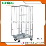 Hot sale nestable 3 sides roll container with metal base with low price