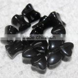 Body piercing,natural black onyx stone ear plugs,heart shaped ear plugs