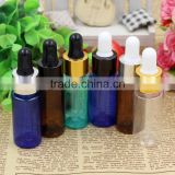 15ml PET Bottle gold silver cover Green / Blue / transparent / Brown Essential oil bottle White dropper bottle
