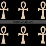 Hot sell ANKH shapes Africa Egypt Symbol for Life 3.25 inches tall WITH HOLE Natural Craft Wood Cutoutmade in China