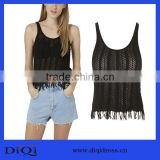 Hot ladies fringed vest o-neck summer sleeveless blouse women casual loose top