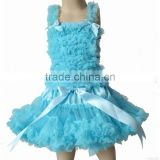 Hot Sale Baby Chiffon Pettiskirt Suit Persnickety Littler Girls chiffon tank top with ruffle tutu skirt sets