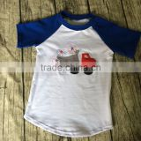 wholesale baby clothes kids graphic raglan tee Little Beans Clothing Hipster toddler boys blue short sleeve car applique shirt