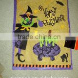 "Metallic Gold Color Happy Halloween Felt Banner With wicked witch Purple Trim 19"" H X 14.5"" W"