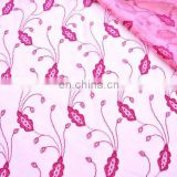 Dark Pink Floral Tulle Fabric