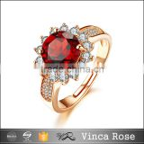 Top quality ladies rose gold plated sliver fashion ruby CZ ladies gold finger smart gemstone ring