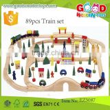 good quality kids toy OEM 89pcs Train set educational wooden train toy set EZ5087
