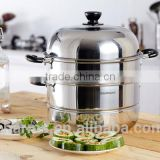 Thick bottom non stick 2layer induction cooker steamer pot