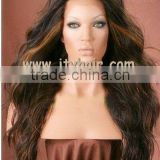 "Hot Beauty 18"" higlight color, Two Tone Loose Wave, Peruvian virgin hair Full lace wig"